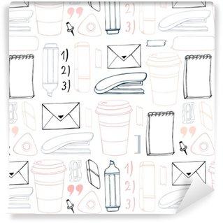 Vinil Duvar Kağıdı Vektör dikişsiz desen kalıbı. el çizimi. şık ofis modelleri.