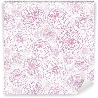 Vinil Duvar Kağıdı Vektör pembe hat sanatı çiçekleri zarif seamless pattern arka plan