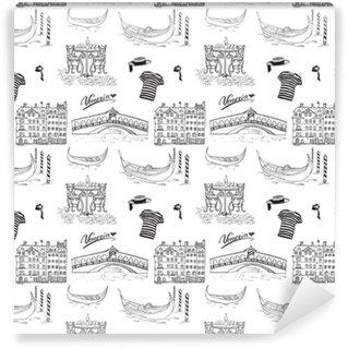 Vinil Duvar Kağıdı Venedik İtalya dikişsiz desen. gondol, gondol kıyafetleri, evler, pazar köprüsü ve sandalyeli kafe masası ile elle çizilmiş taslak. beyaza izole şekiller çizmek.