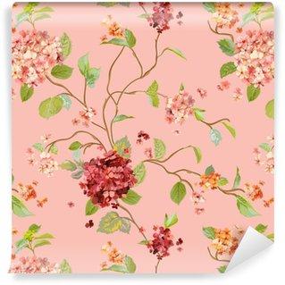 Vinil Duvar Kağıdı Vintage Çiçekler - Çiçek Hortensia Background - Dikişsiz Desen