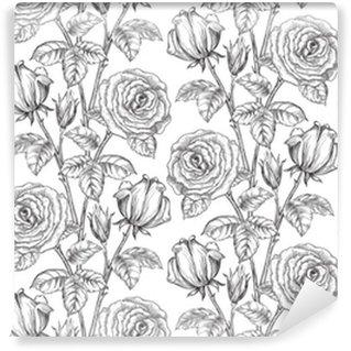 Vinil Duvar Kağıdı Vintage floral background. gravür tarzına gül ve yaprakları ile vektör süslü sorunsuz desen
