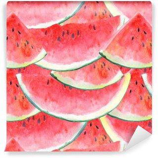 Vinil Duvar Kağıdı Watermelon.Fruit picture.Watercolor elle çizilmiş resimde ile sorunsuz desen.