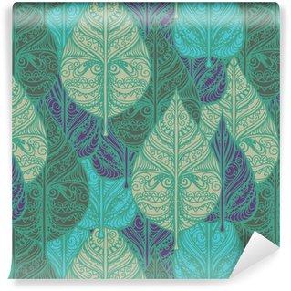 Vinil Duvar Kağıdı Yaprakları ile Seamless pattern