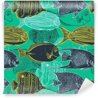 Vinil Duvar Kağıdı Yaz plaj, dekorasyon hat sanatı style.Design el çizilmiş deniz fauna.Vector illüstrasyon tropikal fish.Vintage setinin koleksiyonu ile sorunsuz desen.