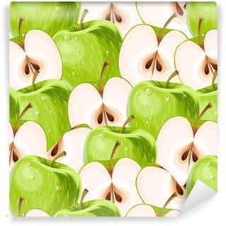 Özel Boyutlu Vinil Duvar Kağıdı Yeşil elmalar ve elma dilimleri kesintisiz