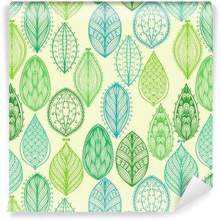 Vinil Duvar Kağıdı Yeşil süslü yaprakları ile sorunsuz elle çizilmiş bağbozumu desen