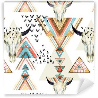 Abstrakti akvarelli eläin kallo ja geometrinen ornamentti saumaton malli. Räätälöity itsestäänkiinnittyvä tapetti