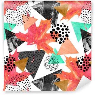 Abstrakti syksy geometrinen saumaton malli. Räätälöity itsestäänkiinnittyvä tapetti
