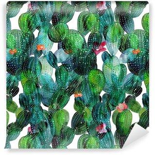 Kaktuskuvio akvarellityylissä Itsestäänkiinnittyvä Tapetti