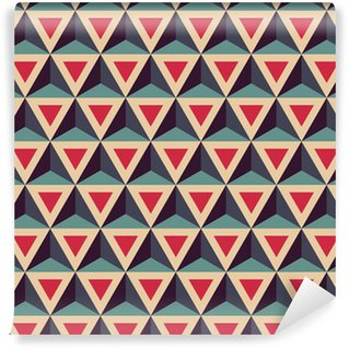 Vektori moderni saumaton värikäs geometria kuvio, kolmiulotteinen kolmiot, väri punainen sininen, abstrakti geometrinen tausta, trendikäs monivärinen painatus, retro tekstuuri, hipster muotisuunnittelu Räätälöity itsestäänkiinnittyvä tapetti