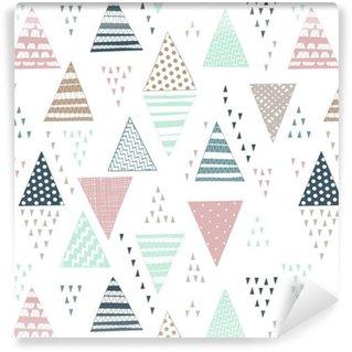 Dekoratif elle çizilmiş üçgenler ile seamless pattern.