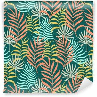 Elle çizilmiş tropikal yaprakları ile Seamless pattern