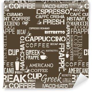 Kahve kelime ve sembolleri arka plan sorunsuz döşeme