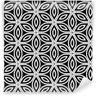 Vektör Modern kesintisiz kutsal geometri desen, hayat geçmişi, duvar kağıdı baskı siyah ve beyaz soyut geometrik çiçek, tek renkli, retro doku, yenilikçi moda tasarımı