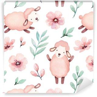 Akvarel ilustrace roztomilé ovce. bezproblémové vzorek
