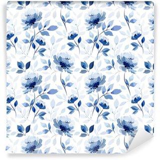 Padrão com flor azul rosa