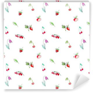 Seamless com frutas jardim e berries.Cherry, framboesa, groselha, morango, maçã e flor. aguarela desenhada mão illustration.White fundo.