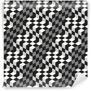 Papel de parede em vinil à sua medida Black and White Cubes Optical Illustion Vector Seamless Pattern
