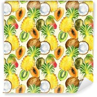 Papel de parede em vinil à sua medida Padrão sem costura com frutas tropicais exóticas. Kiwi, manga, abacaxi e fatia de coco