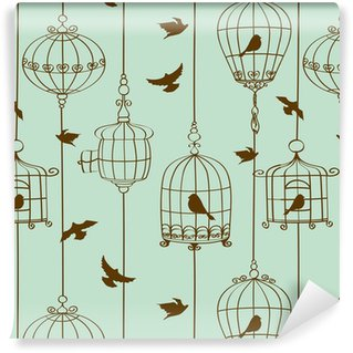 Papel de parede em vinil à sua medida Padrão sem emenda de pássaros e gaiolas