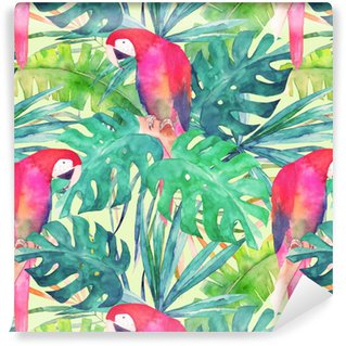 Papel de parede em vinil à sua medida Padrão sem emenda de verão com papagaio de aquarela, folhas de palmeira. ilustração colorida