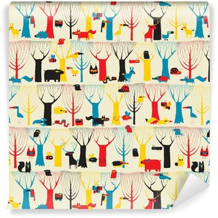 Papel de parede em vinil à sua medida Wood Animals tapestry seamless pattern in modernistic colors