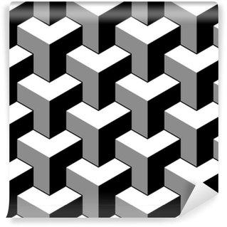 26f8e0dd032 Papel pintado estándar a medida Abstractos cubos 3d sin fisuras patrón  geométrico en blanco y negro