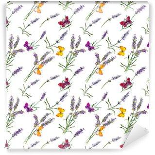 Flores de lavanda, mariposas. Acuarela de patrones sin fisuras