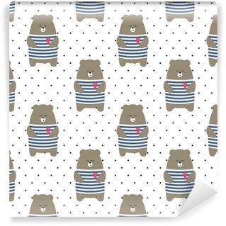 Lindo oso de patrones sin fisuras en el fondo de lunares. Ilustración de vector de oso de peluche parisino de dibujos animados. niño dibujo estilo animal de fondo. diseño de tela, textil, etc.