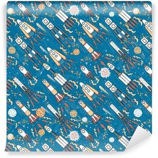 Mano dibujada espacio de dibujos animados de patrones sin fisuras. cohetes, astronautas, planetas y estrellas