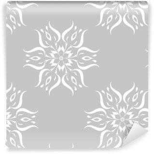 Ornamento floral gris y blanco. patrón sin costuras