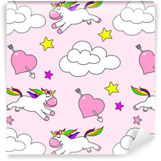 Patrón sin costuras de unicornio en un fondo de camuflaje rosa