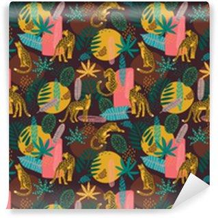 Patrón sin costuras de vestor con leopardos y hojas tropicales.