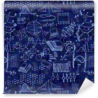 Patrón transparente de ciencia con elementos de dibujo. Fondo de vector con fórmulas decorativas y gráficos. dibujado a mano.