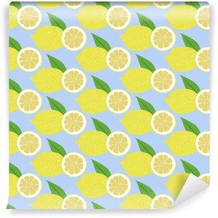 Papel pintado estándar a medida Fruta de patrones sin fisuras limón, vector