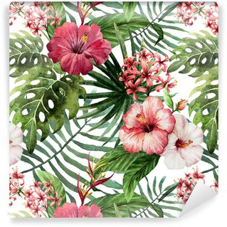 Papel Pintado Estándar Hibisco patrón de la orquídea deja trópicos acuarela