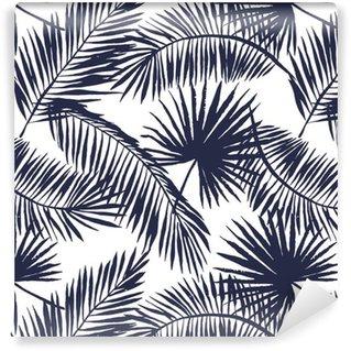 Papel pintado estándar a medida Hojas de palmera silueta sobre el fondo blanco. Modelo inconsútil del vector con las plantas tropicales.