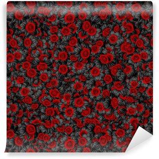 Fondo de rosas con hojas oscuras / Ilustración 3d del patrón de rosas con hojas negras abstractas