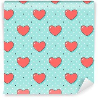 Patrón sin costuras con corazones rojos para el día de San Valentín, día de los enamorados o boda. diseño dibujado a mano para temas relacionados con el amor para papel de regalo, fondo de pantalla, fondo, tarjeta de felicitación. ilustración vectorial