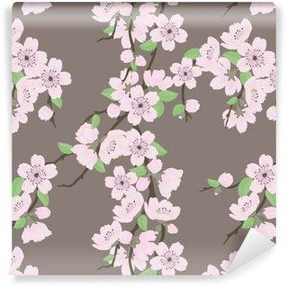 Vector sin patrón hermosa con las flores y las hojas de sakura