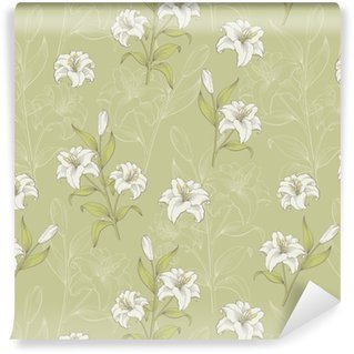 Papel pintado estándar a medida Lily flower graphic color seamless pattern boceto vector de ilustración