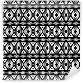 Papel pintado estándar a medida Modelo blanco y negro sin fisuras de moda. boho estilo moderno, étnico, geométrico. patrón de moda para la ropa, el embalaje, el fondo. Vector.