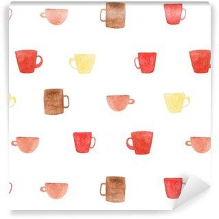 Papel pintado estándar a medida Patrón de tazas de café de acuarela. Ilustración para diseño, impresión o fondo