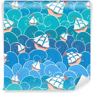 Papel pintado estándar a medida Patrón sin costuras náuticas. naves y olas de fondo. patrón de mar de dibujos animados.