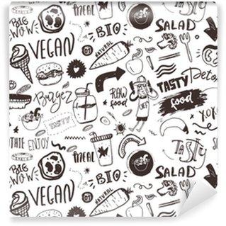 Papel pintado estándar a medida Patrón vegano moderno sin fisuras con alimentos saludables. dibujar elementos dibujados a mano. Estilo hipster.