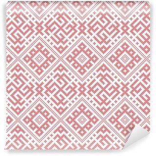 Papel pintado estándar a medida Sin patrón popular ruso, la imitación de bordado de punto de cruz. Patrones consisten en amuletos antiguos eslavos. Muestra incluida en el archivo vectorial.