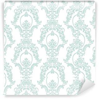 Papel pintado estándar a medida Vector vintage damasco patrón ornamento estilo imperial. elemento floral adornado para tela, textil, diseño, invitaciones de boda, tarjetas de felicitación, fondo de pantalla. color azul opal
