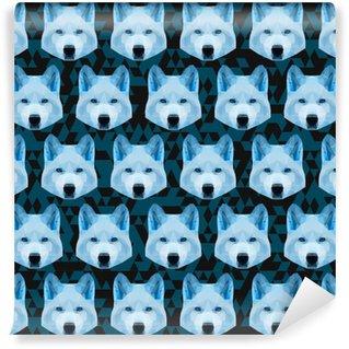 Papier peint vinyle sur mesure Abstrait polygone géométrique loup bleu transparente motif backgrou