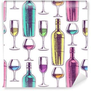 Bouteilles de vin et des verres sans soudure