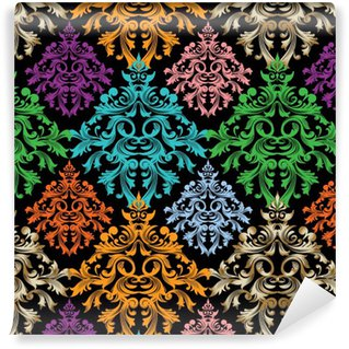 Papier peint autocollant sur mesure Damassé pattern.Colorful floral vecteur seamless damask baroque pattern.Damask wallpaper.Damask de fond.